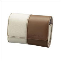 Brown leather and textile soft case